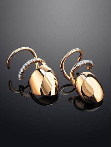 Designer Golden Earrings With Crystals, image , picture 2