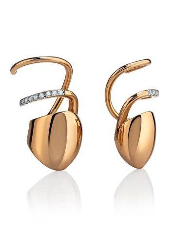 Designer Golden Earrings With Crystals, image