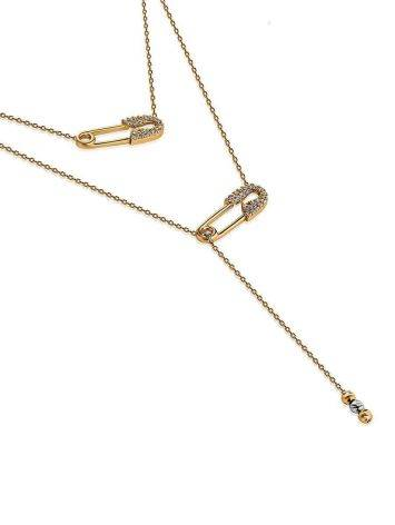 Designer Golden Necklace With Crystals, image , picture 3