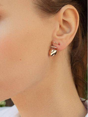 Designer Golden Earrings With Crystals, image , picture 3