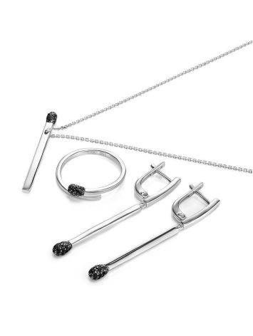 Stylish Silver Crystal Necklace, Length: 45, image , picture 3