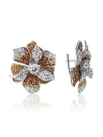 Silver Floral Earrings With Crystals The Jungle, image