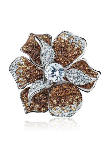 Silver Floral Ring With Crystals The Jungle, Ring Size: 8 / 18, image , picture 4