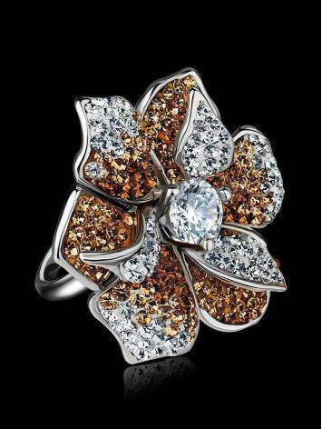 Silver Floral Ring With Crystals The Jungle, Ring Size: 8 / 18, image , picture 2