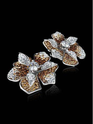 Silver Floral Earrings With Crystals The Jungle, image , picture 2
