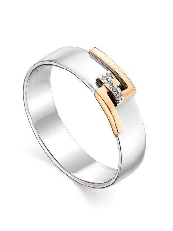 Silver Golden Band Ring With White Diamonds The Diva, Ring Size: 6.5 / 17, image