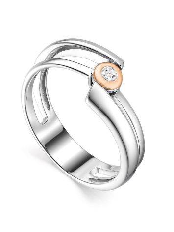 Silver Golden Statement Ring With Diamond The Diva, Ring Size: 6 / 16.5, image