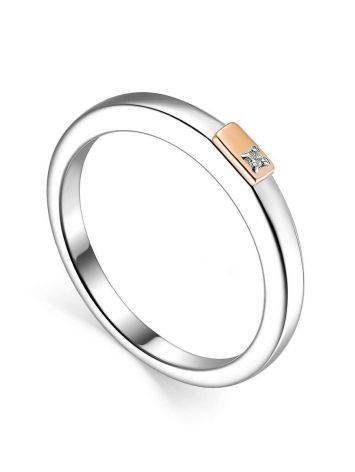 Silver Golden Diamond Ring The Diva, Ring Size: 6.5 / 17, image