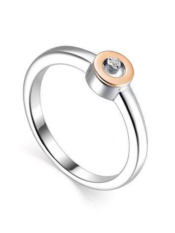 Silver Golden Ring With Solitaire Diamond The Diva, Ring Size: 6 / 16.5, image