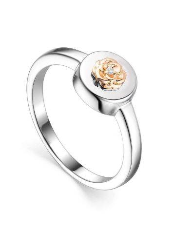 Silver Golden Floral Ring With Diamond The Diva, Ring Size: 6 / 16.5, image