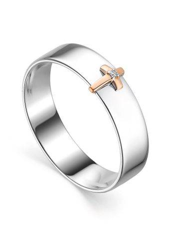 Silver Band Ring With Golden Diamond Cross The Diva, Ring Size: 6 / 16.5, image