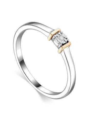 Silver Golden Ring With Diamond Centerstone The Diva, Ring Size: 7 / 17.5, image
