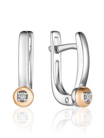 Silver Golden Diamond Earrings The Diva, image