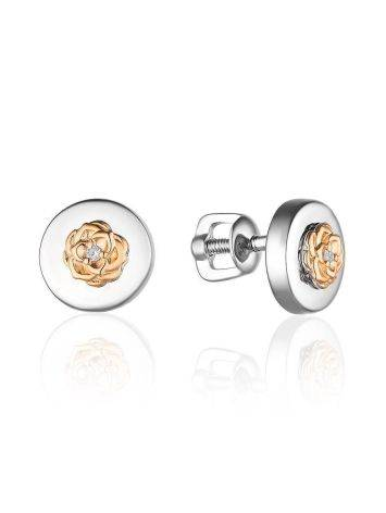Silver Golden Floral Studs With Diamonds The Diva, image