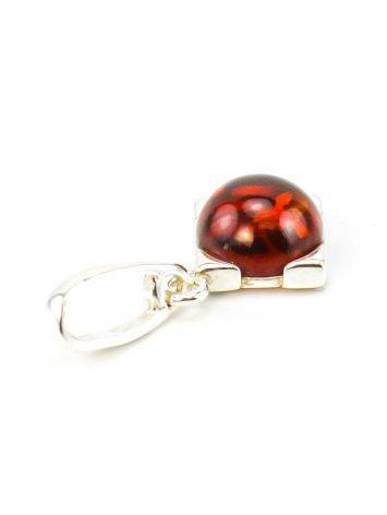 Square Silver Pendant With Cherry Amber The Rondo, image , picture 4