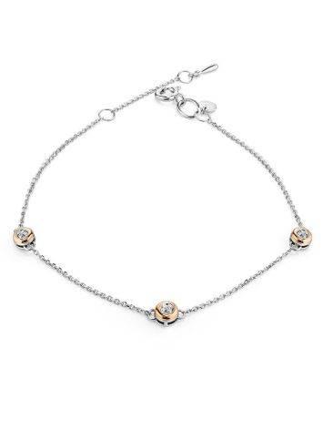 Silver Golden Diamond Bracelet The Diva, image