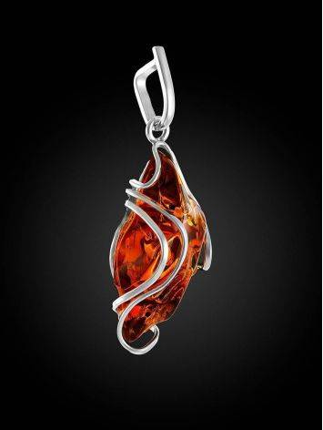 Bold Handcrafted Amber Silver Pendant The Rialto, image , picture 3