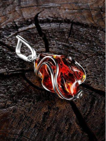 Bold Handcrafted Amber Silver Pendant The Rialto, image , picture 2
