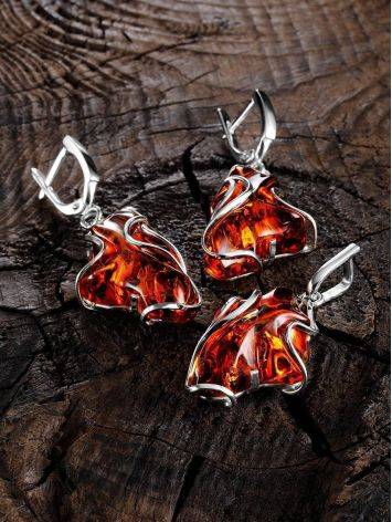 Bold Handcrafted Amber Silver Pendant The Rialto, image , picture 4