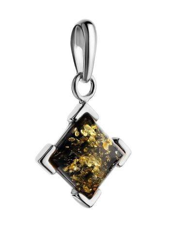 Square Silver Pendant With Green Amber The Artemis, image , picture 3