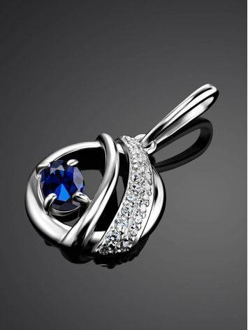 Silver Round Pendant With Synthetic Sapphire And Crystals, image , picture 2