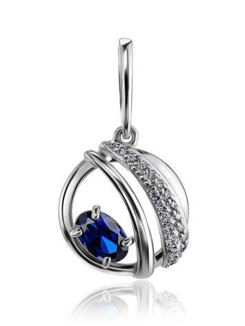 Silver Round Pendant With Synthetic Sapphire And Crystals, image
