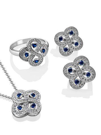 Silver Necklace With Blue And White Crystals, Length: 45, image , picture 3