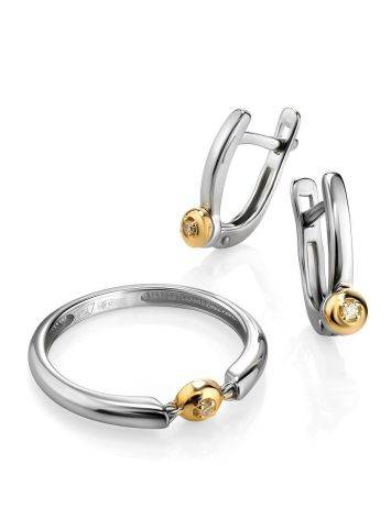 Silver Golden Diamond Earrings The Diva, image , picture 3