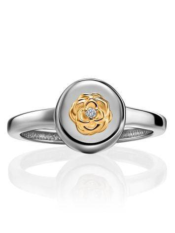 Silver Golden Floral Ring With Diamond The Diva, Ring Size: 6 / 16.5, image , picture 3