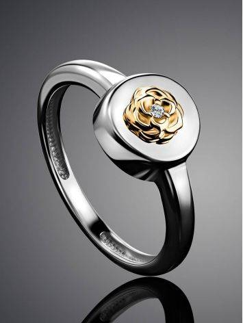 Silver Golden Floral Ring With Diamond The Diva, Ring Size: 6 / 16.5, image , picture 2