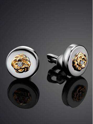 Silver Golden Floral Studs With Diamonds The Diva, image , picture 2