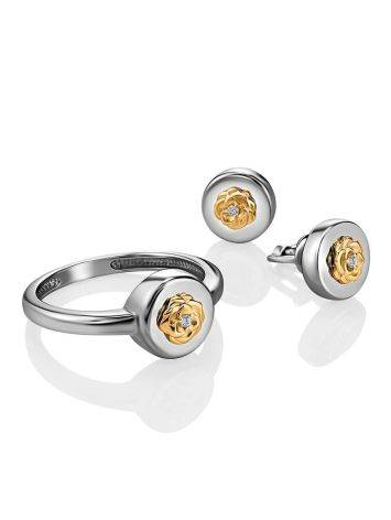 Silver Golden Floral Studs With Diamonds The Diva, image , picture 3