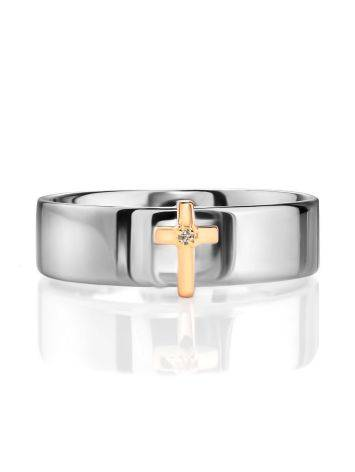 Silver Band Ring With Golden Diamond Cross The Diva, Ring Size: 6 / 16.5, image , picture 3