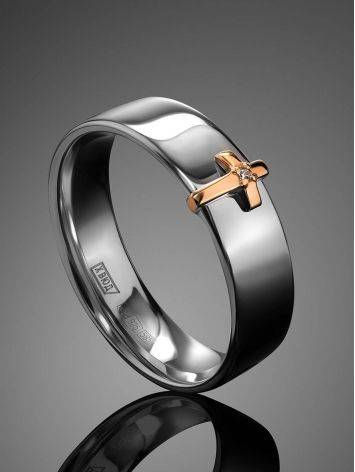 Silver Band Ring With Golden Diamond Cross The Diva, Ring Size: 6 / 16.5, image , picture 2