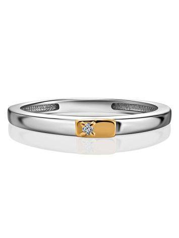 Silver Golden Diamond Ring The Diva, Ring Size: 6.5 / 17, image , picture 3
