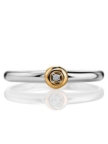 Silver Golden Ring With Solitaire Diamond The Diva, Ring Size: 8 / 18, image , picture 3
