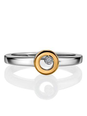 Silver Golden Ring With Solitaire Diamond The Diva, Ring Size: 6 / 16.5, image , picture 3