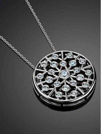 Silver Necklace With Round Crystal Pendant, image , picture 2