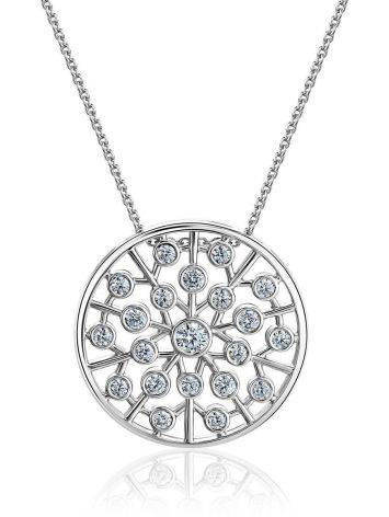 Silver Necklace With Round Crystal Pendant, image