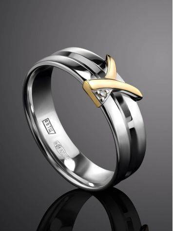 Double Band Silver Ring With Diamond And Golden Detail The Diva, Ring Size: 6 / 16.5, image , picture 2