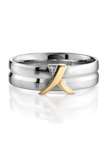 Double Band Silver Ring With Diamond And Golden Detail The Diva, Ring Size: 6 / 16.5, image , picture 3