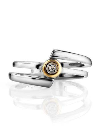 Silver Golden Statement Ring With Diamond The Diva, Ring Size: 6 / 16.5, image , picture 3