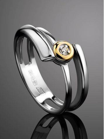 Silver Golden Statement Ring With Diamond The Diva, Ring Size: 6 / 16.5, image , picture 2