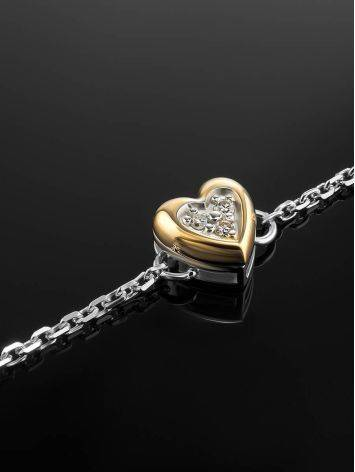 Silver Bracelet With Golden Diamond Heart Shaped Charm The Diva, image , picture 2