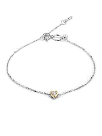 Silver Bracelet With Golden Diamond Heart Shaped Charm The Diva, image