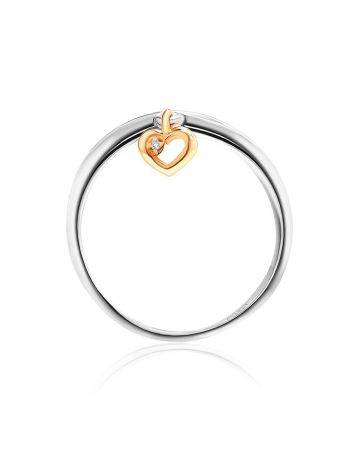 Silver Ring With Golden Diamond Heart Dangle The Diva, Ring Size: 8 / 18, image , picture 3