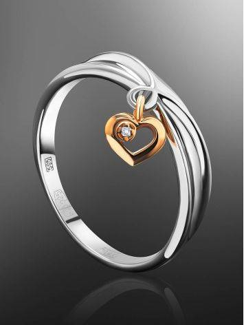 Silver Ring With Golden Diamond Heart Dangle The Diva, Ring Size: 8 / 18, image , picture 2