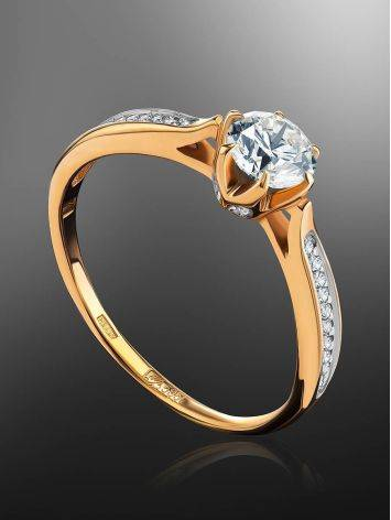 Vintage Style Golden Diamond Ring, Ring Size: 7 / 17.5, image , picture 2
