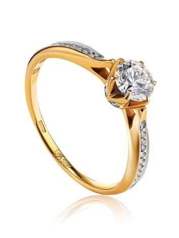 Vintage Style Golden Diamond Ring, Ring Size: 7 / 17.5, image