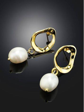 Pearl Drop Earrings in Hammered 18ct Gold on Sterling Silver The Palazzo, image , picture 2